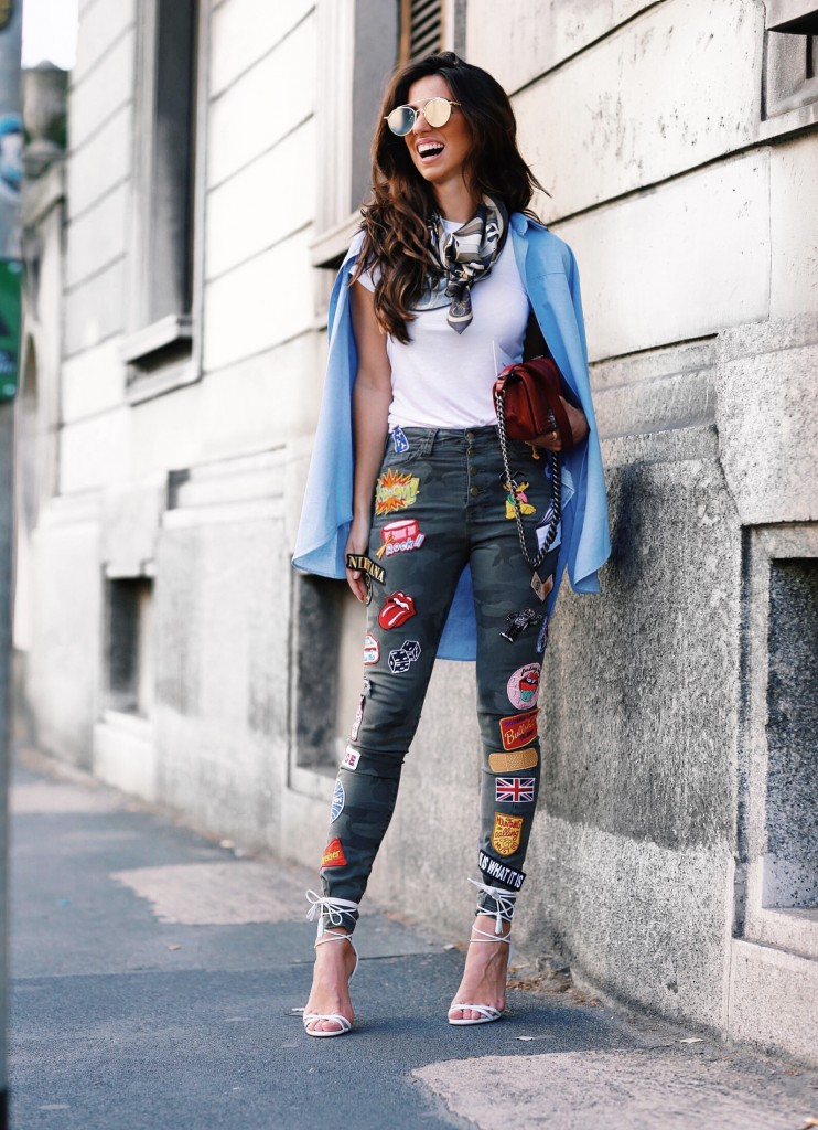 Luiza Sobral Milan Fashion Week patches MFW