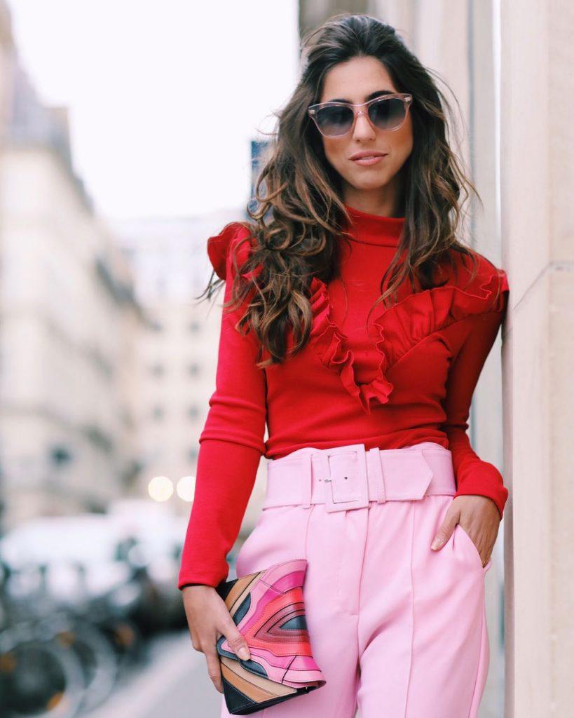 look-rosa-e-vermelho